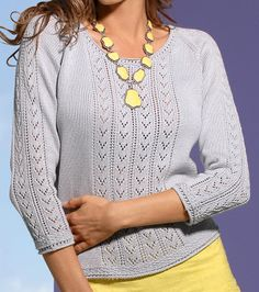 Ажурный пуловер реглан сверху спицами