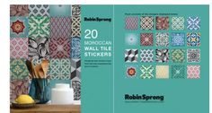 Wall Tile Stickers are perfect for DIY or can be purchased as gifts. Change the look and feel of your home with easy, commitment-free stick-on tile transfer & Decal patterns Moroccan Wall Tiles, Tile Transfers, Stick On Tiles, Decorative Accessories, Decals, New Homes, Display, Stickers, Wallpaper