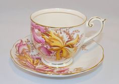 Teacup and Saucer Bell China England Pattern by HoardingSisters