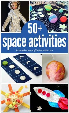50 awesome space activities for kids to learn about the planets the sun the moon stars constellations astronauts space travel and more! Space Activities For Kids, Space Preschool, Preschool Themes, Preschool Activities, Outer Space Crafts For Kids, Science Projects For Kids, Preschool Printables, Indoor Activities, Summer Activities
