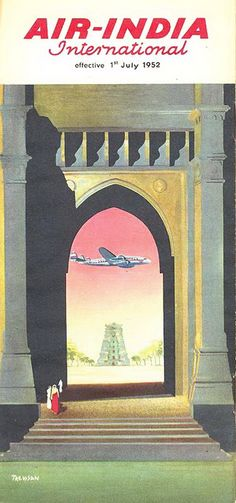 Air India International Vintage Airline Timetable Advertising the Lockheed Constellation from 1952