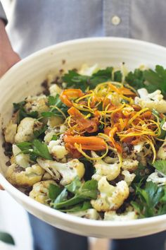 Cauliflower & Lentil Salad with Crispy Lemon Zest & Carrots by Good Things Grow
