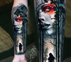 Foto - Face in Forest-tatoeage door A. Arm Tattoos For Guys, Trendy Tattoos, Leg Tattoos, Small Tattoos, Girl Tattoos, Sleeve Tattoos, Tattoo Ink, Forest Tattoo Sleeve, Forest Tattoos