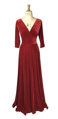 Baylis & Knight Red velvet plunge neck gown