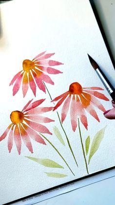 Watercolor Beginner, Watercolor Paintings For Beginners, Watercolor Art Lessons, Watercolor Techniques, Watercolor Landscape, Watercolor And Ink, Watercolour Painting Easy, Flower Art Drawing, Simple Flower Painting