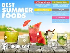 Sun is having its upper hand now. Beat the Heat by frequently having with these foods and drinks that'll helps us from dehydrating and dizziness.  Issued by public interest - Srijanakiram Hotels  #srijanakiram #social #message #summer #foods