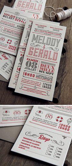 Ensemble invitation de mariage et carton info Identity Design, Logo Design, Graphic Design, Art Deco Logo, Vintage Business Cards, Carton Invitation, Letterpress Printing, Business Design, Packaging Design