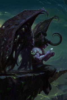 World of Warcraft-Illidan Stormrage Dark Fantasy Art, Fantasy Artwork, Dark Art, Final Fantasy, Illidan Stormrage, War Craft, Warcraft Art, Night Elf, Ange Demon