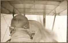 A picture taken in an RE8 sitting behind Lieutenant Hubert Wrinch during a sortie over the Western Front in August 1917.
