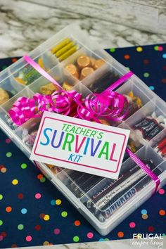 Kick-off the school year right or show some love teacher appreciation week! Gift these teacher survival kits to your child's teachers this year. Teacher survival kits make a cute and thoughtful gift to get them through busy days in the classroom. #FrugalCouponLiving #teacherappreciation #giftideas Survival Kit Gifts, Survival Kit For Teachers, Teacher Survival, Teacher Appreciation Gifts, Teacher Gifts, Free Thanksgiving Printables, Free Printables, Back To School Crafts, Wedding Gift Tags