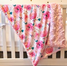 Excited to share the latest addition to my #etsy shop: Floral Baby Blanket, Pink Baby Blanket, Baby Girl Minky Blanket, Floral Lovey, Rose Baby Blanket, Security Blanket, Baby Shower Gift