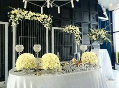 Sweetheart table. I love the beaded backdrop!
