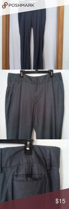"""Merona women plus size 18 career dress pants Barely worn, charcoal with tiny blue and beige pin stripes, cuffed, zipper with an inside metal closure and anchor button, two front and two back slit pockets, polyester, rayon and wool, waist 41"""", front rise 11"""" Merona Pants Trousers"""