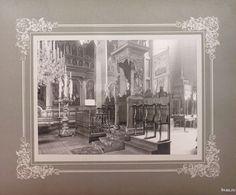 """Biserica Greacă - imagine din interior, Galati, Romania, anul 1906, http://stone.bvau.ro:8282/greenstone/collect/fotograf/index/assoc/J007.dir/Pag07.jpg.  Imagine din colecţiile Bibliotecii Judeţene """"V.A. Urechia"""" Galaţi."""