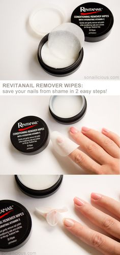 The best nail polish remover - on the go! Revitanail remover wipes review: http://sonailicious.com/revitanail-remover-wipes-review/