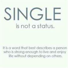 Single non è una condizione. È una parola he descrive una persona forte abbastanza per vivere e godersi la vita senza dipendere dagli altri.