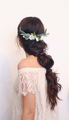Long messy boho braid with Flower Half Crown and greenery. The Ester Comb by Love Sparkle Pretty http://lovesparklepretty.com/shop/ester. Boho hair, hairstyles, bridal hair, half crown, flower crown.