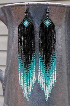 Long Seed Bead Earrings Beaded Teal por CreationsbyWhiteWolf