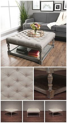 We love this beautiful neutral ottoman. The square shape of this ottoman is ideal for placing in the center of a room and offers plenty of space for resting your feet or use as extra seating. An open storage area underneath the cushion provides a place for those items you want to have close while still keeping them out of the way.