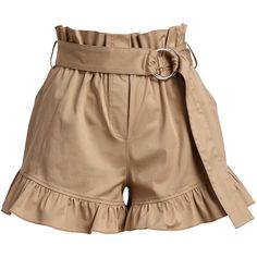 Cinq A Sept Braxton High-Waist Ruffled Shorts (444 475 LBP) ❤ liked on Polyvore featuring shorts, frilly shorts, ruffle trim shorts, high-rise shorts, high rise shorts and paperbag shorts