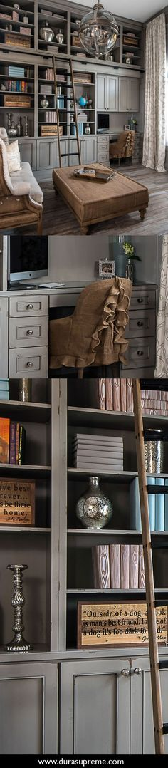 Shabby chic styled gray and distressed painted library cabinets and built-in bookcases in Heritage Paint from Dura Supreme Cabinetry with rolling ladder and burlap inspired furniture. Home Office with Shabby Chic Style. Design by Lindsey Markel of Dillman & Upton.