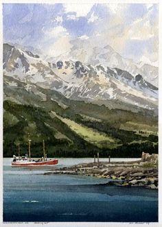 Heading Out   Resurrection Bay, AK by Iain Stewart Watercolor ~ 13 x 9