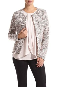 Collarless Multicolour Bouclé Blazer - Blazers - Shop By: - Clothing | Melanie Lyne