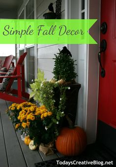 Decorating for Fall @Lowe's with Potted Mums wrapped with drop cloth scraps.