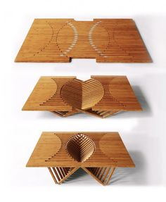 "Moden furniture made from only one piece of wood - This one is call ""Rising Table"" design by Robert van Embricqs for the Rising Furniture Series Folding Furniture, Cool Furniture, Furniture Design, Bamboo Furniture, Deco Design, Wood Design, Style Deco, A Table, Table Chaise"