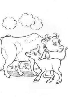 Раскраска Корова и теленок, скачать и распечатать раскраску раздела Животные и их детеныши