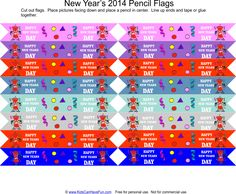 New Years Pencil Flags