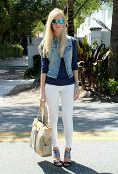 4aa7afc80c White Pants Outfit, White Denim, Distressed Denim, Cute Fashion, Fashion  Bags,