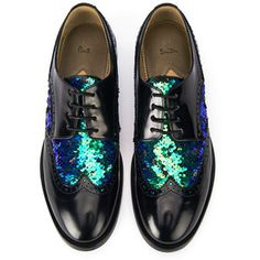 Paul Smith Shoes Women's Jodie Sequined Leather Brogues - Nero Amalfi/Green/Black Sequined Fabric