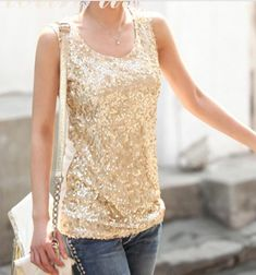 Gold or Black Sequined Tank-top. http://www.stylelish1.storenvy.com