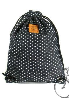 20% off [orig. 14.99] Star Backpack Canvas Cotton drawstring Hip bag Handmade bag