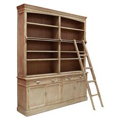 Wooden Library Cupboard with Ladder | ACHICA