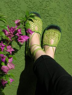 Lace up crochet SHOES  Mary Jane Apple Green   by lepiedleger, $62.00