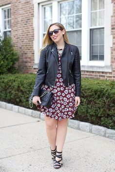 Burgundy Floral LOFT Dress | Black Faux Leather Zara Jacket | Strappy Black Sandals | Edgy Spring Outfit on Living After Midnite by Jackie Giardina