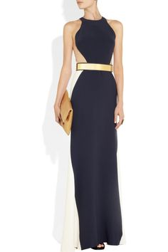 Stella McCartney | Saskia stretch-cady and mesh gown | NET-A-PORTER.COM