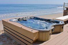 Hot tub set in deck, with an ocean view! www.gordonandgrant.com