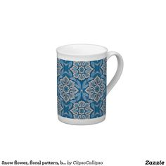 Snow flower, floral pattern, blue & gray snowflake tea cup