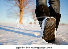 """Walking in the Snow with boots"" - Winter Stock Photo from Gograph.com"