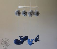 Whale Mobile, Hanging Whale Baby Mobile Nursery Decor