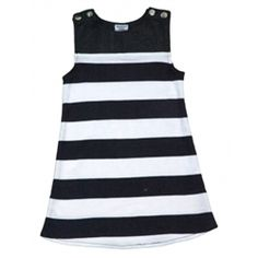 This stylish number is a made from a mix of bamboo denim (70%) and organic cotton interlock (30%) which gives this dress a great look.  Featuring poppers on the shoulders for easy fit. Navy striped and Denim