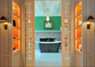 love the hermes painted orange interior of shelves and the laser cut door panels. Bedrooms, boudoirs and dressing rooms - Live a luscious life with LUSCIOUS: www.myLusciousLife.com