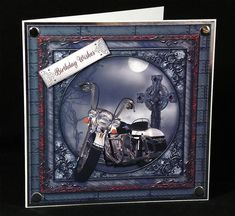 Dark Motorcycle on Craftsuprint designed by Diane Baldrey - made by Denise Murray - Printed at a slightly reduced size and mounted onto a 7x7 card blank with a mat of silver mirri.Added the 'Birthday Wishes' sentiment and embellished with chrome card candi.... great design! - Now available for download!