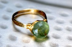 Moss Aquamarine and Gold Ring. #handmade