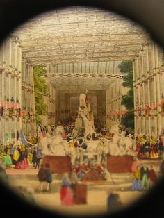 "Peepshow -   1851 Great Exhibition, London: 'Telescopic View of the Great Exhibition, 1851',    Hand-colored concertina view (peep show) that folds out to 7"" wide x 6 1/4"" high and 24"" in length (18 x 16 cm X 64 cm deep)."