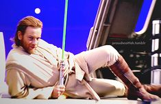 Ewan McGregor (Obi-Wan Kenobi) behind the scenes of Star Wars Episode II: Attack of the clones