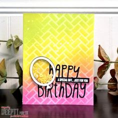 Balloon Frame, The Balloon, Birthday Wishes For Love, Birthday Cards, Happy A, Foam Sheets, Birthday Month, Bubblegum Pink, Distress Ink